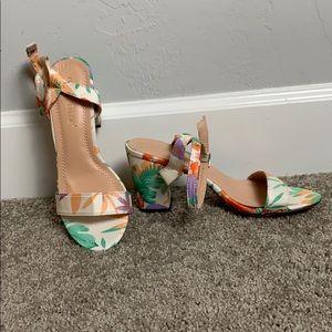 Tropical print heels